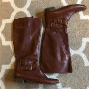 Brown Cognac Leather Riding Boots